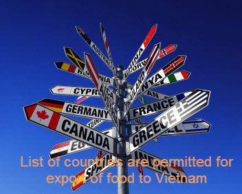 List of countries are permitted for export of food to Vietnam