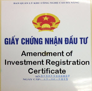 Amendment of investment registration certificate in vietnam yelopaper Choice Image
