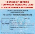 14 cases of getting temporary residence card for foreigners in Vietnam